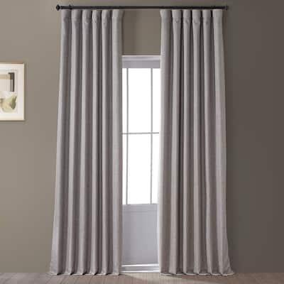 Signature Destination Slate Gray Faux Linen Blackout Curtain - 50 in. W x 84 in. L (1 Panel)