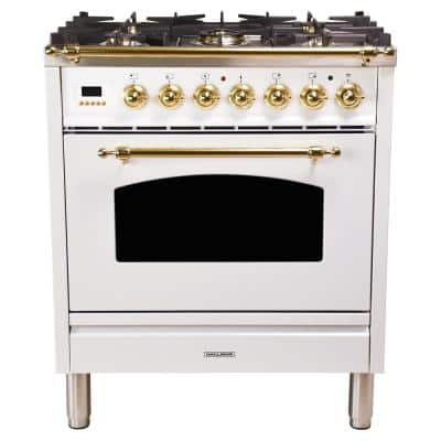 30 in. 3.0 cu. ft. Single Oven Italian Gas Range with True Convection, 5 Burners, Brass Trim in White
