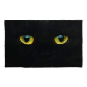 Cat Face Black 2 ft. 6 in. x 4 ft. 2 in. Halloween Indoor Area Rug