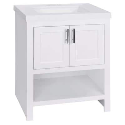 Spa 30 in. W x 18.75 in. D Bath Vanity in White with Cultured Marble Vanity Top in White with White Sink and Mirror