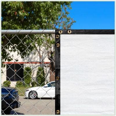 4 ft. x 8 ft. White Privacy Fence Screen HDPE Mesh Windscreen with Reinforced Grommets for Garden Fence (Custom Size)