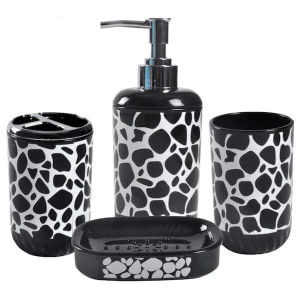 Basicwise 4 Piece Bathroom Hardware Set, Bathroom Soap Dispenser And Toothbrush Holder