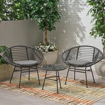Meridian Grey 3-Piece Faux Wicker Patio Conversation Set with Dark Grey Cushions
