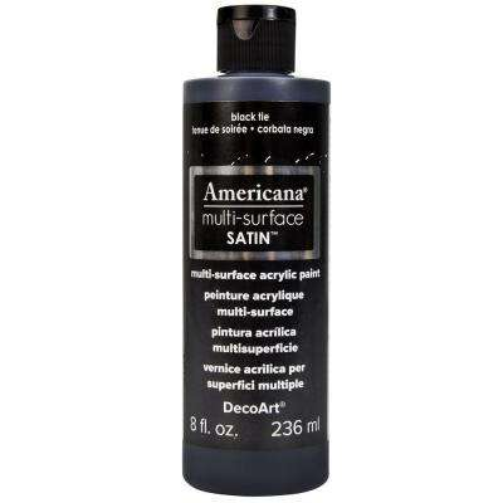 Americana 8 oz. Black Tie Satin Multi-Surface Acrylic Paint