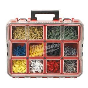 10-Compartment Red Deep Pro Portable Tool Box with Storage and Organization Bins for Small Parts