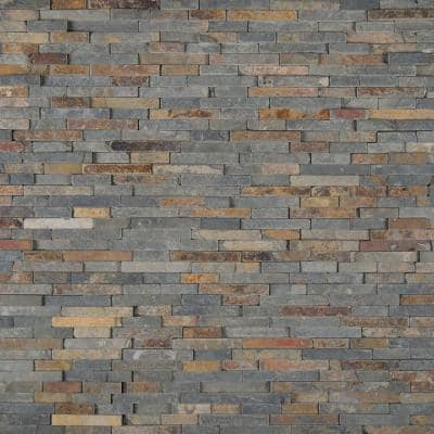 Rustique Interlocking 8 in. x 18 in. x 10mm Textured Slate Mesh-Mounted Mosaic Wall Tile (10 sq. ft. / case)