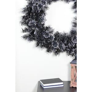 36 in. Pre-Lit LED Black Bristle Artificial Christmas Wreath