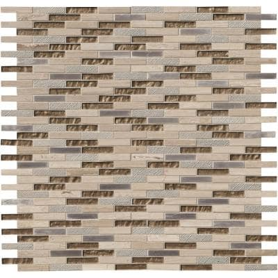 Diamante Brick 12 in. x 12 in. x 8 mm Glass Stone Mesh-Mounted Mosaic Wall Tile (10 sq. ft./Case)