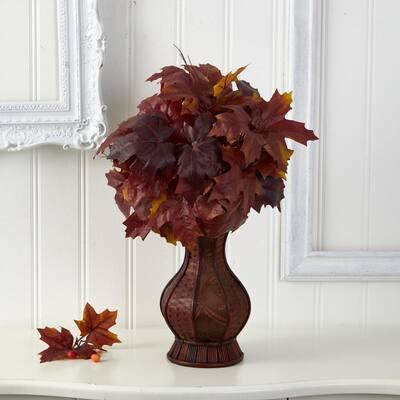 24in. Autumn Maple Leaf Artificial Plant in Decorative Planter