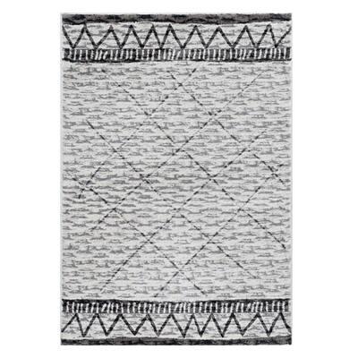 Bernadette Ivory/Mocha 5 ft. x 7 ft. Geometric Polyester Area Rug