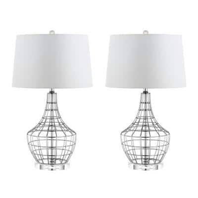 Olga 28 in. Silver Metal Gourd Table Lamp with Off-White Shade (Set of 2)