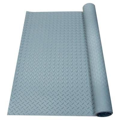 Diamond-Plate Rubber Flooring Dark Gray 36 in. W x 120 in. L Rubber Flooring (30 sq. ft.)
