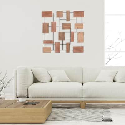 35 in. Geometric Brown Wood Block Metal Wall Decor
