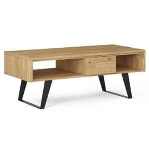 Fulton 24 in. Golden Wheat Medium Rectangle Wood Coffee Table with Drawers
