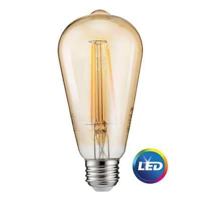 40-Watt Equivalent ST19 Dimmable Indoor/Outdoor Vintage Glass Edison LED Light Bulb Amber Warm White (2200K)