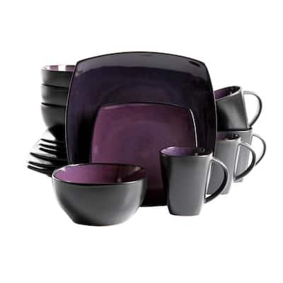 Soho Purple Lounge 16-Piece Soft Square Stoneware Dinnerware Set