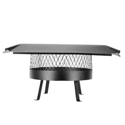 16 in. Round Slip-In Welded Leg Single Flue Chimney Cap in Black Galvanized Steel