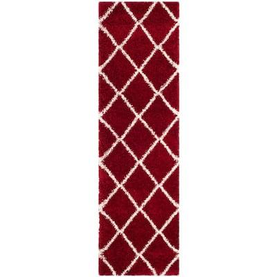 Hudson Shag Red/Ivory 2 ft. 3 in. x 12 ft. Runner Rug
