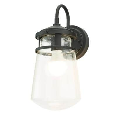 1-Light Black Nautical Outdoor Wall Coach Light Sconce with Raindrop Glass