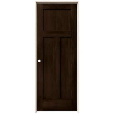 32 in. x 80 in. Craftsman Espresso Stain Right-Hand Solid Core Molded Composite MDF Single Prehung Interior Door