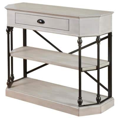 14 in. Antique White and Black Wood TV Stand 47 in. with No Additional Features