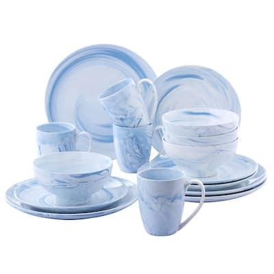 16-Piece Light Blue Porcelain Plates, Bowls Set Coffee Mugs Dinnerware Set (Service for 4)