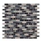 Coal Mine Gray 11.5 in. x 11.625 in. Interlocking Mixed Glass and Stone Mosaic Tile (0.988 sq. ft./Each)