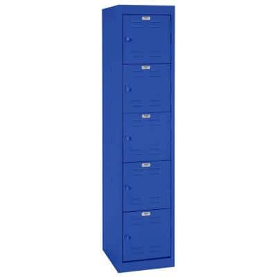 66 in. H x 15 in. W x 18 in. D 5-Tier Welded Steel Storage Locker in Blue