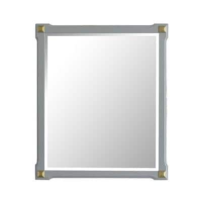 Marchesa 26 in. x 2 in. Classic Rectangle Framed Gold and Pearl White Accent Mirror