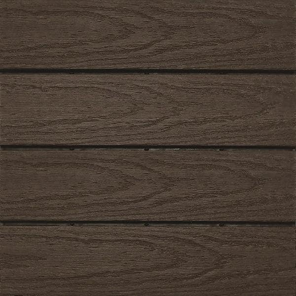 NewTechWood UltraShield Naturale 1 ft. x 1 ft. Quick Deck Outdoor Composite Deck Tile in Spanish Walnut (10 sq. ft. per Box) | The Home Depot