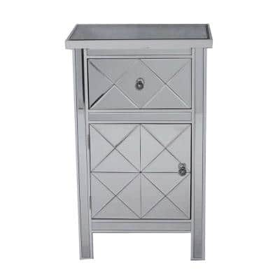 Shelly Antique White Wood Cabinet with a Drawer and Door