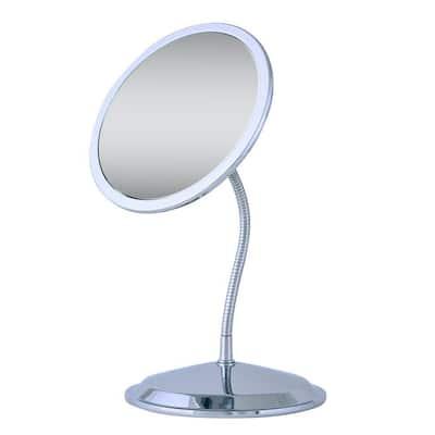 Double Vision Gooseneck Vanity Makeup Mirror in Chrome