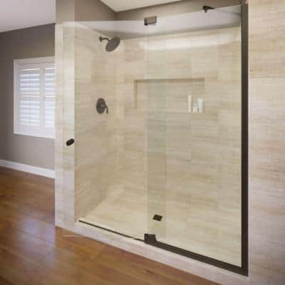 Cantour 54 in. x 76 in. Semi-Frameless Pivot Shower Door in Oil Rubbed Bronze with Handle