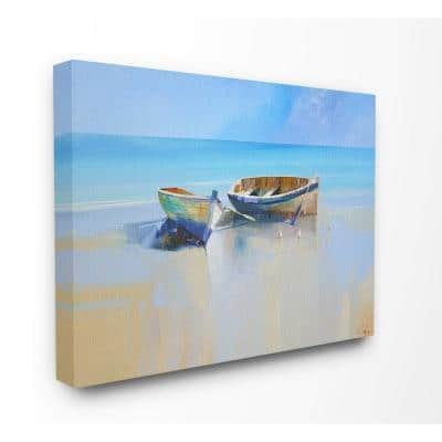 """30 in. x 40 in. """"Two Row Boats at the Shining Shore Painting """" by Craig Trewin Penny Canvas Wall Art"""