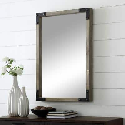 Small Rectangle Natural Wash/Black Mirror (3 in. H x 36 in. W)