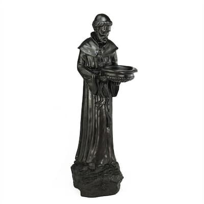 24 in. St. Francis of Assisi Dark Brown Bird Feeder