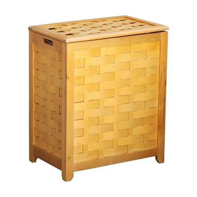 Rectangular Veneer Wood Laundry Hamper with Interior Bag