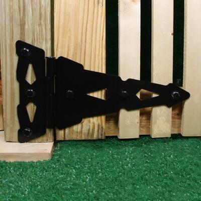 8 in. Black Heavy-Duty Decorative Tee Hinge (2-Pack)