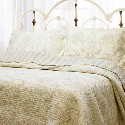 Scalloped Vintage Floral 3-Piece Medallion Toile Ivory Cream Khaki Cotton King Quilt Bedding Set