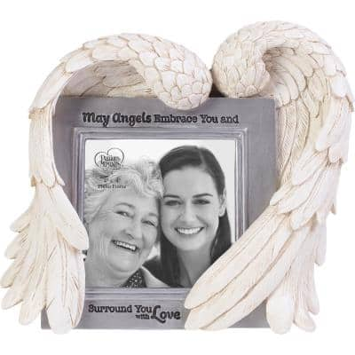 May Angels Embrace You 4x4 Resin And Glass Memorial Picture Frame