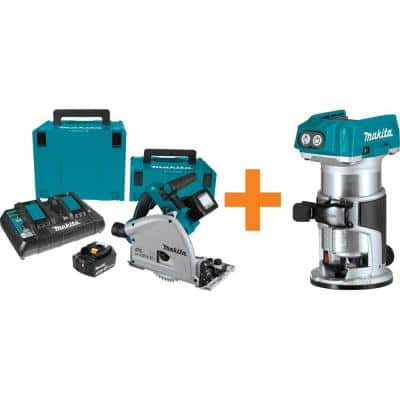 18-Volt X2 LXT (36-Volt) Brushless 6-1/2 in. Plunge Circular Saw 5.0 Ah with Bonus 18-Volt LXT Brushless Compact Router