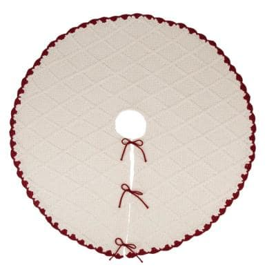 52 in. D Knitted Polyester White Christmas Tree Skirt with Red Trim and Pompom