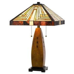 27 in. Brown Resin Table Lamp with Shade