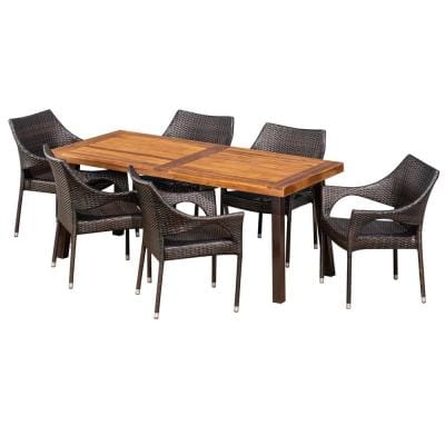 Brianna 7-Piece Iron Outdoor Dining Set with Stacking Chairs