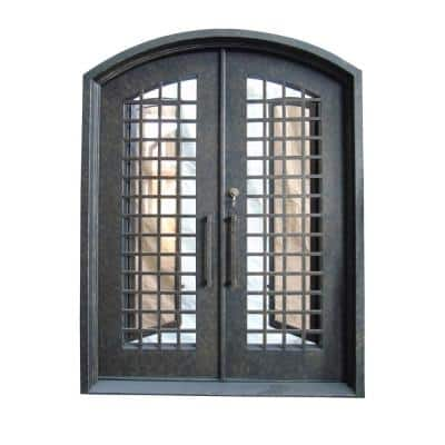 62 in. x 81 in. Rustic Bronze Right-Hand Inswing 2-Lite Clear Iron Double Prehung Front Door