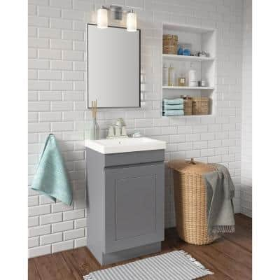 Indale 20 in. W x 16 in. D Vanity in Twilight Gray with Porcelain Vanity Top in Solid White with White Basin