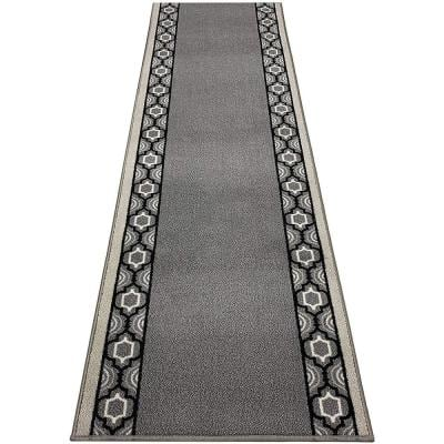 """Moroccan Trellis Border Cut to Size Gray Color 26"""" Width x Your Choice Length Custom Size Slip Resistant Runner Rug"""