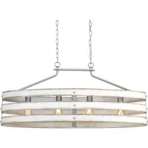 Gulliver Collection 4-Light Galvanized Finish Coastal Linear Chandelier Light