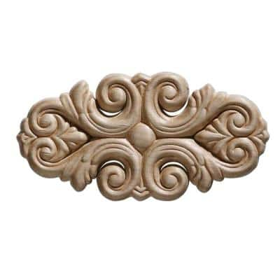 3322PK 7/32 in. x 5-1/2 in. x 2-3/4 in. Birch Acanthus Corner Onlay Ornament Moulding (2-Pack)
