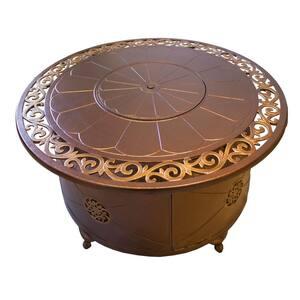 48 in. Aluminum Round Decorative Firepit in Bronze